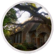 Round Beach Towel featuring the photograph Little Southern Chapel by Kathy Baccari