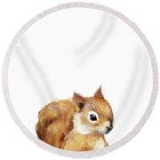 Little Squirrel Round Beach Towel