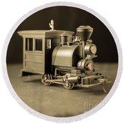 Round Beach Towel featuring the photograph Little Steam Locomotive by Edward Fielding