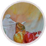 Round Beach Towel featuring the painting Little Still Life by Beverley Harper Tinsley