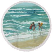 Little Surfers Round Beach Towel