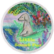 Little Sweet Pea With Title Round Beach Towel