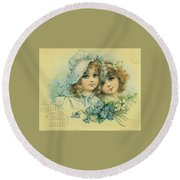 Little Sweethearts 6 Round Beach Towel by Reynold Jay
