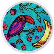 Little Toucan Round Beach Towel by Sarah Loft