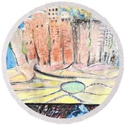 Little Town By The River Round Beach Towel by Evelina Popilian