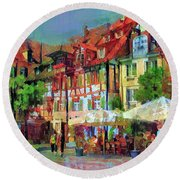 Little Town Round Beach Towel