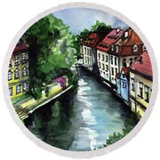 Round Beach Towel featuring the painting Little Venice In Prague Certovka Canal by Dora Hathazi Mendes