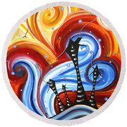 Little Village By Madart Round Beach Towel