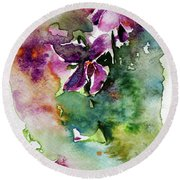 Round Beach Towel featuring the painting Little Violet by Kovacs Anna Brigitta