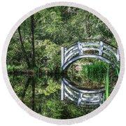 Little White Bridge At Magnolia Plantation And Gardens Round Beach Towel