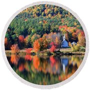 'little White Church', Eaton, Nh	 Round Beach Towel