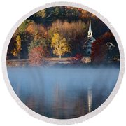 Round Beach Towel featuring the photograph Little White Church On Crystal Lake by Jeff Folger
