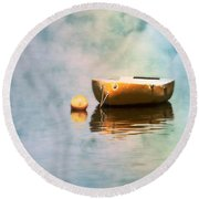 Little Yellow Boat Round Beach Towel