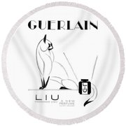 Round Beach Towel featuring the digital art LIU by ReInVintaged