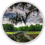 Live Oak Marsh View Round Beach Towel