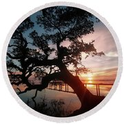Round Beach Towel featuring the photograph Live Oak Sunrise by Benanne Stiens