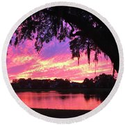Live Oak Sunset Round Beach Towel