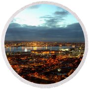 Liverpool City And River Mersey Round Beach Towel