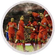 Liverpool V Leicester City Round Beach Towel by Don Kuing