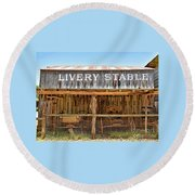 Livery Stable Round Beach Towel by Ray Shrewsberry