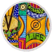 Living A Vibrant Life Round Beach Towel