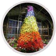Living Color Christmas Tree Round Beach Towel