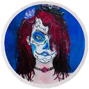 Round Beach Towel featuring the painting Living Dead Girl by Reed Novotny
