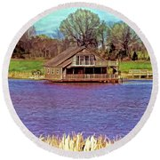 Living On The Water Round Beach Towel