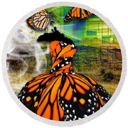 Round Beach Towel featuring the mixed media Living One's Destiny by Marvin Blaine