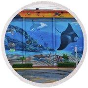 Living Reef Mural Round Beach Towel