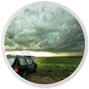 Living Saskatchewan Sky Round Beach Towel by Ryan Crouse