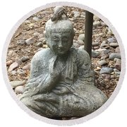 Round Beach Towel featuring the painting Lizard Zen by Kim Nelson