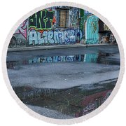 Round Beach Towel featuring the photograph Ljubljana Graffiti Reflections #2 - Slovenia by Stuart Litoff