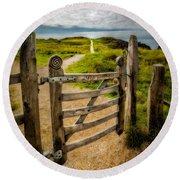 Llanddwyn Island Gate Round Beach Towel