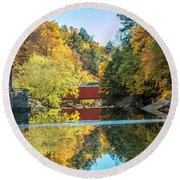 Mcconnell's Mill And Covered Bridge Round Beach Towel by Skip Tribby