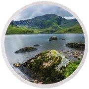 Llyn Ogwen Glyder Fawr Round Beach Towel by Ian Mitchell