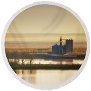 Round Beach Towel featuring the photograph Loading Grain by Albert Seger