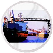 Loading The Iron Ore On The Great Lakes Freighters Round Beach Towel