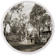 Round Beach Towel featuring the photograph Loading Ramp by Linda Lees