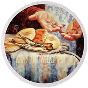 Loaves And Fishes 2 Round Beach Towel