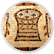 Loaves And Fishes Mosaic Round Beach Towel by Lou Ann Bagnall