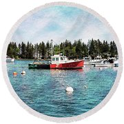 Round Beach Towel featuring the digital art Lobster By Night - Sleep By Day - Camden Maine by Joseph Hendrix