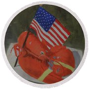 Lobster And Fourth Of July Round Beach Towel