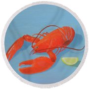 Lobster And Lemon Round Beach Towel