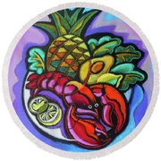 Lobster And Salad Round Beach Towel