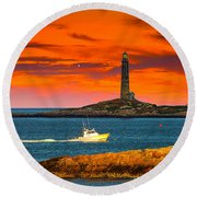 Lobster Boat Cape Cod Round Beach Towel