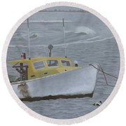 Lobster Boat In Kettle Cove Round Beach Towel