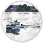 Lobster Boat Lbwc Round Beach Towel