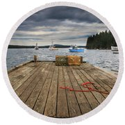 Lobster Boats Of Winter Harbor Round Beach Towel