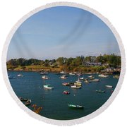 Lobster Boats On The Coast Of Maine Round Beach Towel